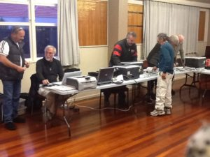 Jim Cater and Kevin Malone along with Fergus Elley and Brian Neil preparing the strike off gear.