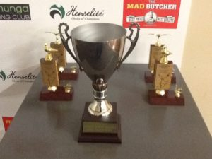Trophies for the Raumati Flock and Yearling Champs.