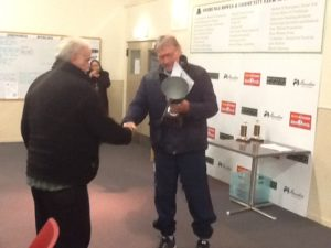 Win Arnold receiving his trophy from Allan Flanagan ARPF President