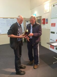 Steve Archer with his trophy for Ward East Section with Allan Flanagan ARPF President.