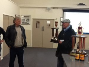 Mac Armstrong gets ready to present the ARPF Invarcargill trophy.
