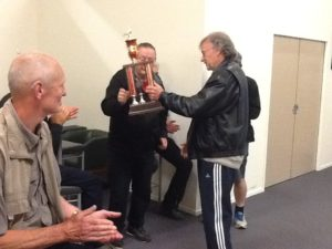 Kerry with the Old Bird National Trophy from Christchurch