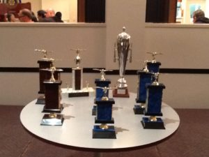 Auckland Young Bird Futurity 2015 trophies.