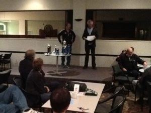 Trophy presentation. President Theo Van Lear and Futurity Secretary Kevin Malone.