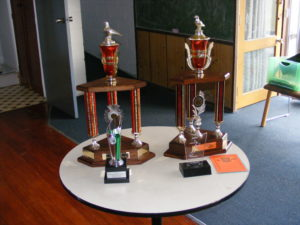 Trphies for the ARPF Christchurch and Invercargill race.
