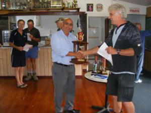 Theo Van Lier presents the trophy for Invercargill to Sterling Lofts - Steve McLuskie